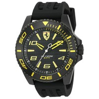 Scuderia Ferrari Men's XX Kers Yellow Dial Quartz Black Silicone Strap Watch